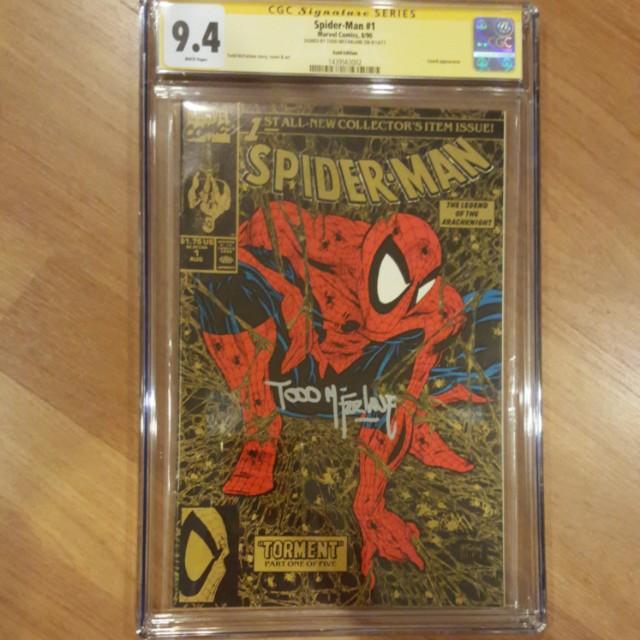 👍Rare - MARVEL Spider-Man #1 Gold Edition CGC 9.4 Signature Series Todd Mcfarlane Silver Signature