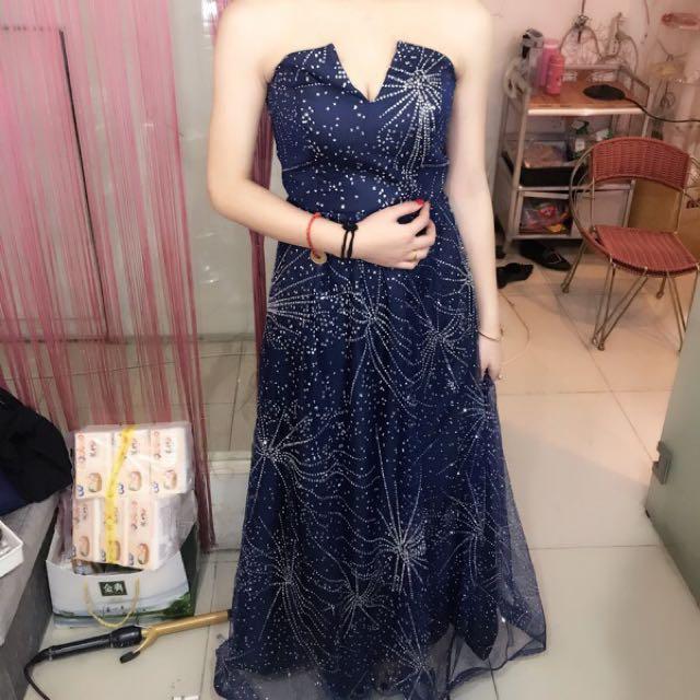Starry Sparkling Navy Blur Gown / Maxi dress