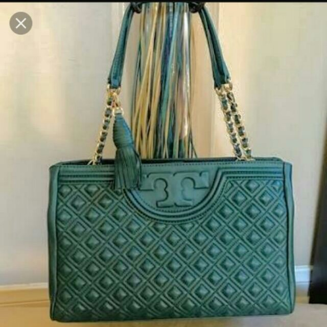 Super Sale Authentic Tory Burch Green Open Fleming Bag