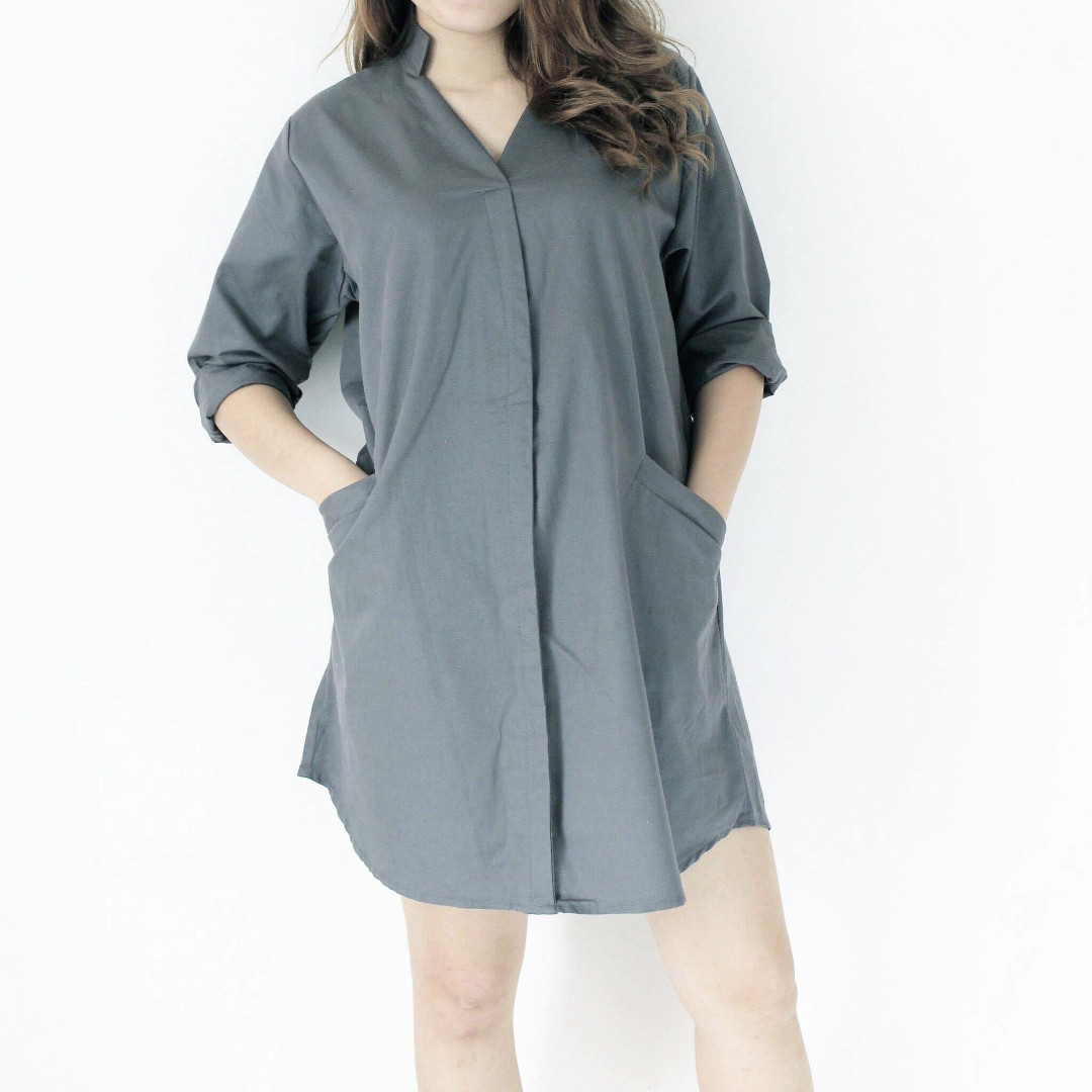 Three Bulbs Mandarin Collar Two Pockets Shirt Dress