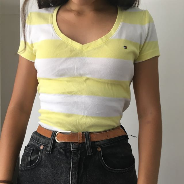 46439d67 Tommy Hilfiger Yellow And White Striped Tee, Women's Fashion, Clothes on  Carousell
