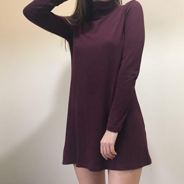 Turtleneck Burgundy Dress