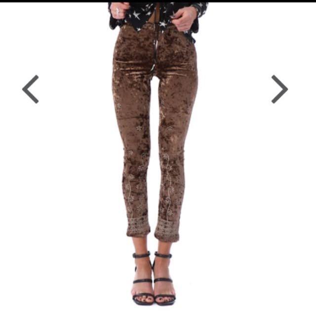 Velvet pants size small