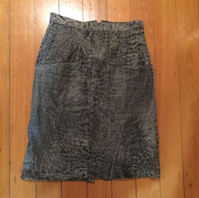 Vintage grey marbles leather pencil skirt Sz 10/12