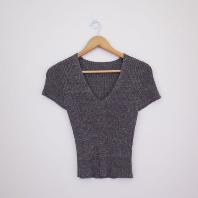 Vintage metallic v neck crop top