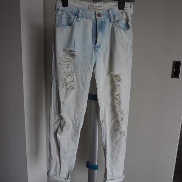 Washed Boyfriend Ripped Jeans