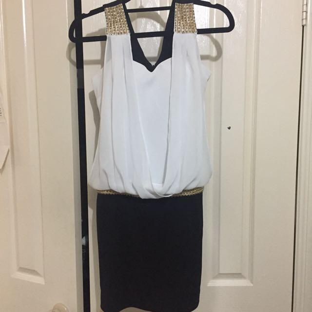 White & black (gold detailing) party dress