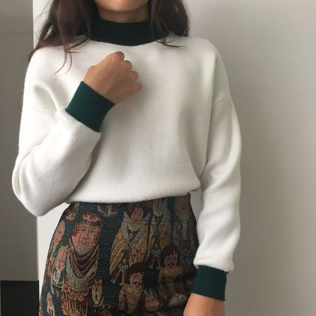 White and Green Cropped Ringer Jumper