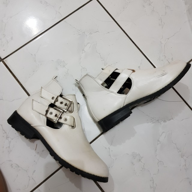White Cut Out Boots