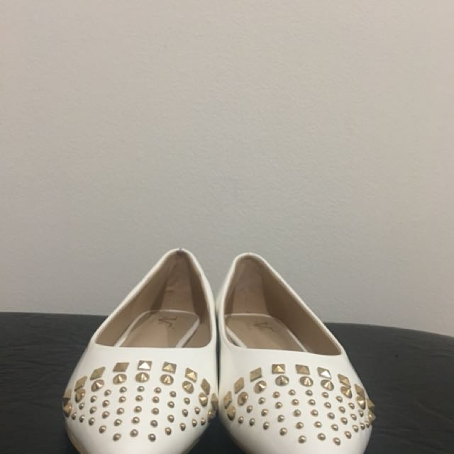 White studded flats
