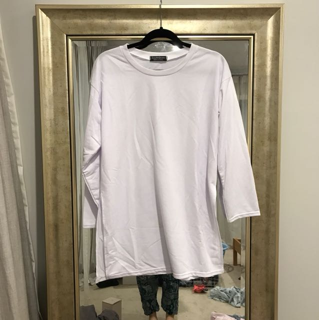 white sweatshirt with side split