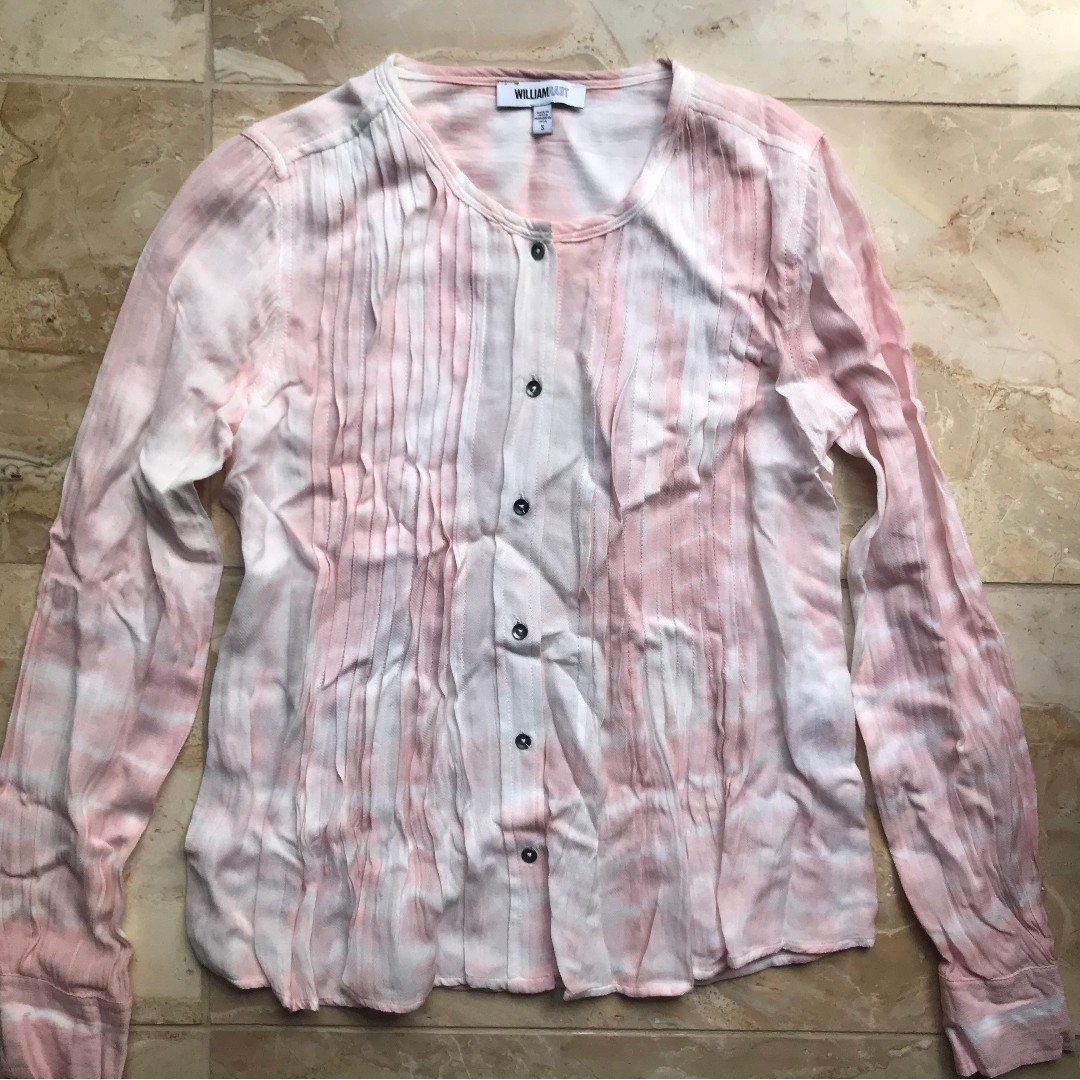 WILLIAM RAST PASTEL PINK PLEATED BUTTON DOWN LONG SLEEVE SHIRT BLOUSE