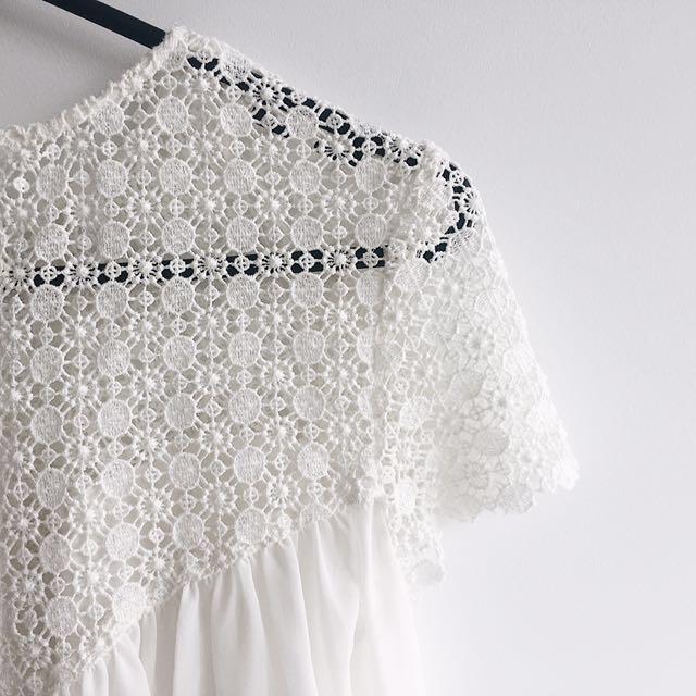 Zara chiffon crochet top