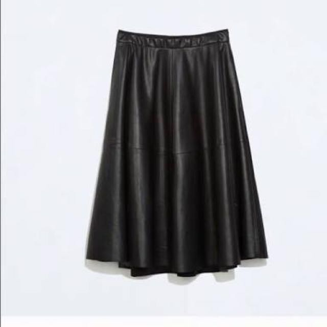 Zara Faux Leather Midi Skirt