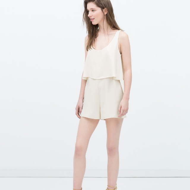 c94f1a66128 Zara White Jumpsuit with Cape Details