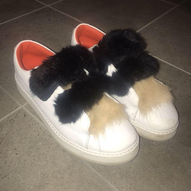 ZARA Woman fur Velcro strap sneakers
