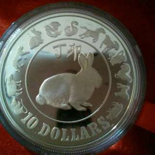 1987 Rabbit $10 Silver Proof Coin
