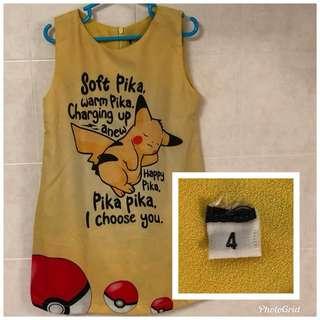 Pikachu Dress for Girls (Age 4)