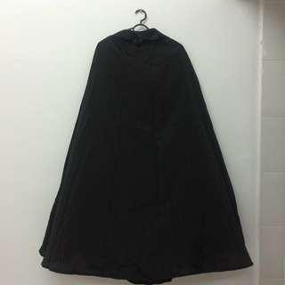 Black Polyester Maxi Skirt (OBB)