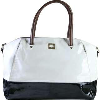 Kate Spade white and black kings bury park large catalina handbag