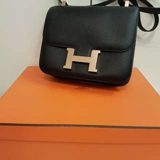 RARE! NEW hermes constance 24 black rose gold