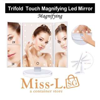 💎 TRIFOLD TOUCH MAGNIFYING LED MIRROR