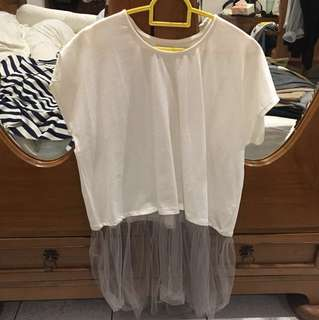 casual top with tulle