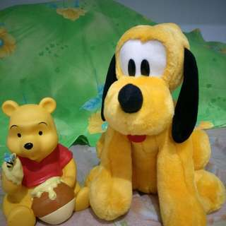 Pluto Stuffed Toy & Winnie the Pooh Coin Bank (solo prices for each)
