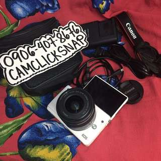 Canon eos m10 white and 15-45mm is stm bag and accesories