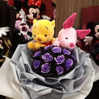Wine the Pooh Soap Rose bouquet