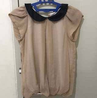 Cream Collar Top