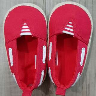 Red baby loafers