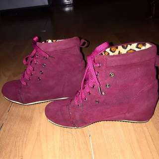 Hot pink high heels shoes