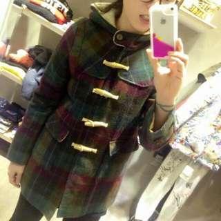 🚚 ScoLar 古著vintage 格紋混羊毛 木扣 連帽外套大衣 紫 綠