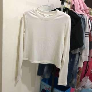 🚚 全新 H&M 短版長袖針織上衣