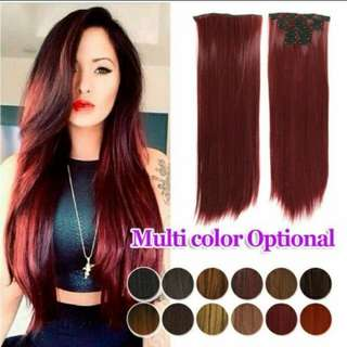 Hair Extensions 7pcs Set Clip On Straight Hair