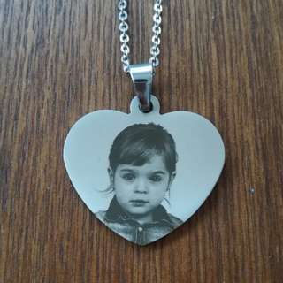Heart Photo Printed Necklace