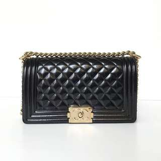 Authentic Chanel Boy Black Patent Ghw