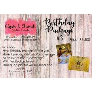 Photography service (photocoverage for baptismal birthday wedding etc)