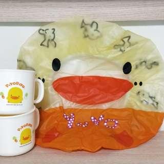 🚚 全新黃色小鴨 浴帽+兩個杯子