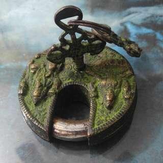古老銅鎖頭 正常使用 2匙