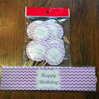 "DIY ""Purple Happy Birthday"" theme party set"