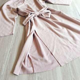 全新❤️air space淺粉絨面綁帶落肩洋裝