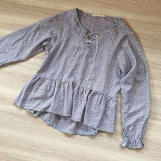 全新❤️粉藍色荷葉邊飾針織棉質感碎花薄長袖上衣
