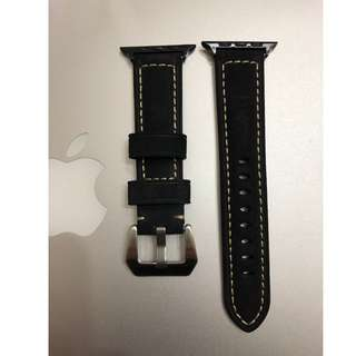 (熱賣款) Apple Watch 錶帶 Panerai 麂皮款 黑色 38mm 42mm Apple Watch Leather Strap