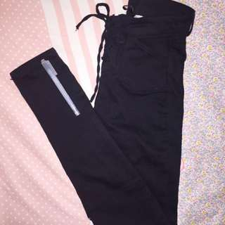Black High Waist Stretch Pants with lace    H&M