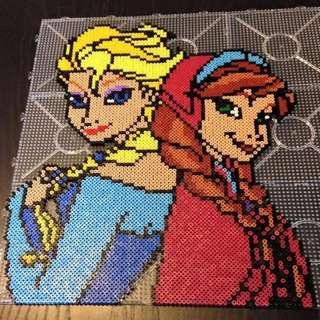 Frozen Elsa&Anna Hama Bead Designs