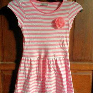 Pink stripe dress with flower