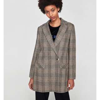 Zara Basic Check Blazer with tags
