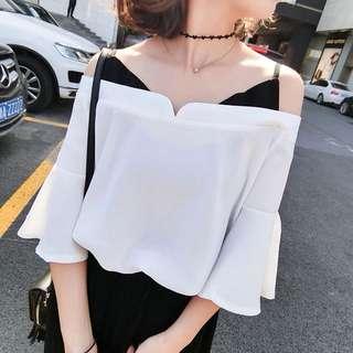 Korean style Off Shoulder White Top